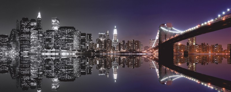 mike liu new york skyline und n chtliche reflektion. Black Bedroom Furniture Sets. Home Design Ideas
