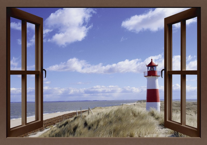 fotopro fensterblick leuchtturm sylt leinwandbilder. Black Bedroom Furniture Sets. Home Design Ideas