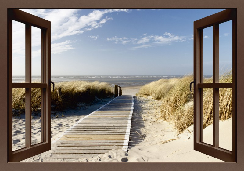 eva gruendemann fensterblick nordseestrand auf langeoog steg leinwandbilder. Black Bedroom Furniture Sets. Home Design Ideas